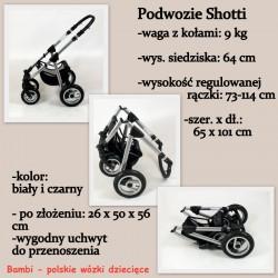 Shotti kremowy wózek z amarantem