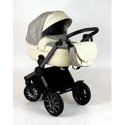 MiMax kremowy wózek z szarym