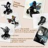 Retro czarny wózek z szarym