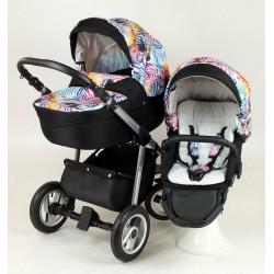 Shotti czarny wózek z tęczowymi zebrami
